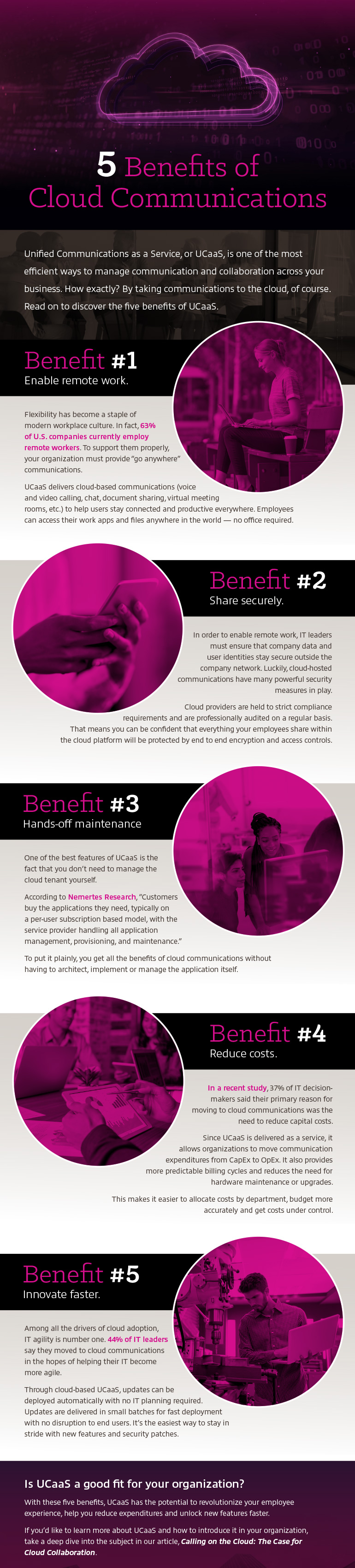 First part of 5 Benefits Of Cloud Communications, Why UCaaS? infographic as outlined from below
