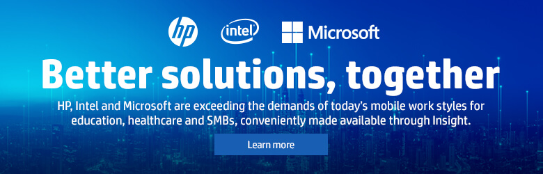 Ad: HP: Better solutions, together. Exceed the demans of todays mobile workforce for education, heathcare and small to medium businesses. Learn more