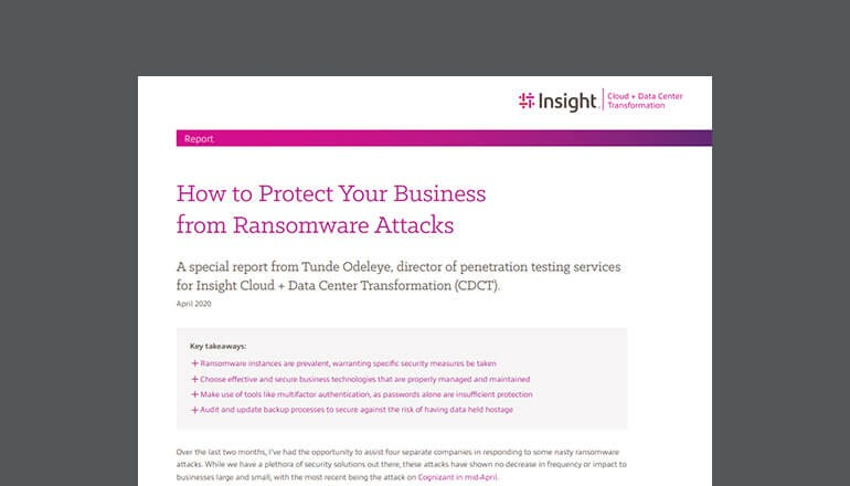 Cover for the Insight How to Protect Your Business from Ransomware Attacks whitepaper available to download below