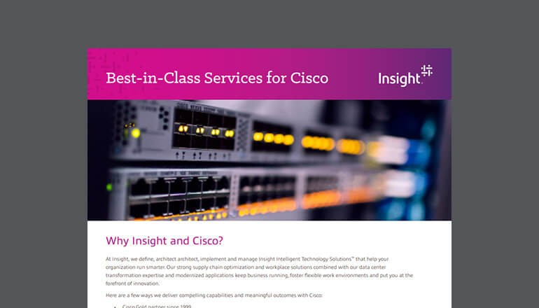Cover for the Insight Insight & Cisco QuickStart Services for Education datasheet available to download below