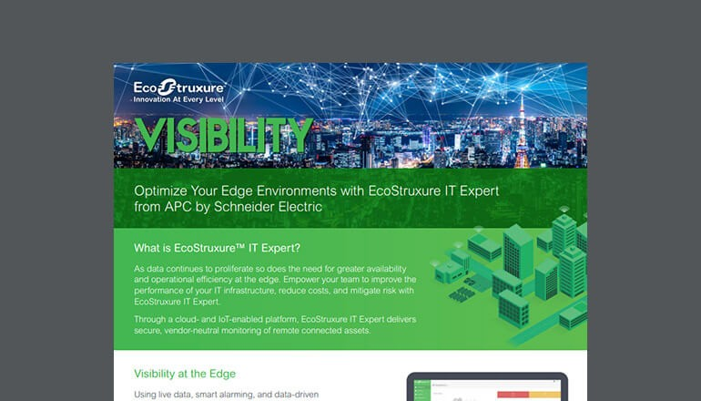 Cover image for Optimize Your Edge Environments With EcoStruxure IT Expert From APC by Schneider Electric brochure available to download below