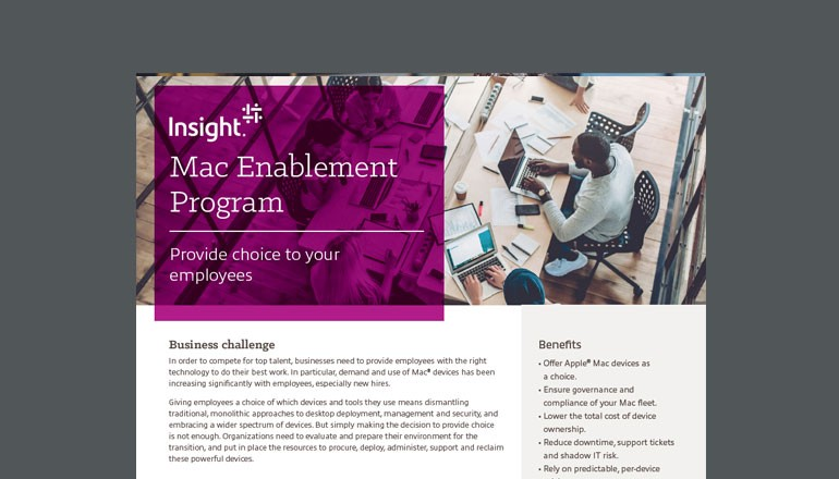 Cover to Apple and Insight Mac Enablement datasheet available to download below. Apple devices, Mac, iPad, Digital workplace solutions