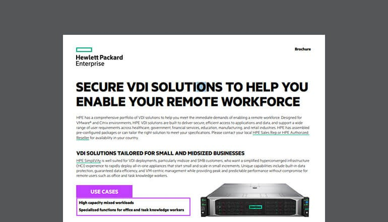 Cover of HPE for VDI Solutions brochure available to download below