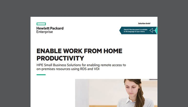 Cover of HPE Small Business Solutions for RDS and VDI Solution Brief available to download below