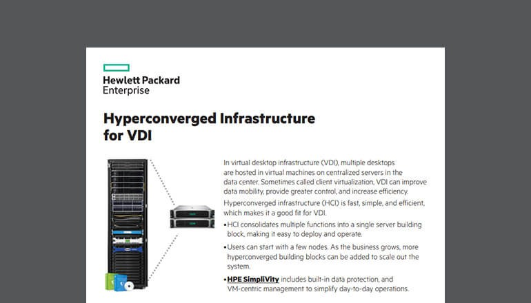 Cover of HPE Hyperconverged infrastructure for VDI whitepaper available to download below