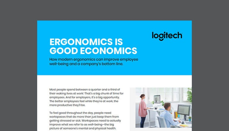 Cover of Logitech whitepaper for ergonomic devices, Ergonomics is Good Economics available to download below.